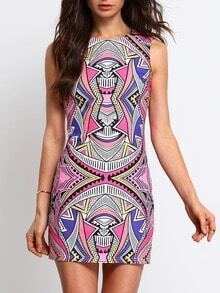 Multicolor Sleeveless Geometric Print Dress