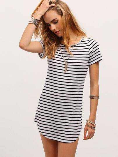 Contrast Striped Curved Hem T-shirt Dress -SheIn(Sheinside)