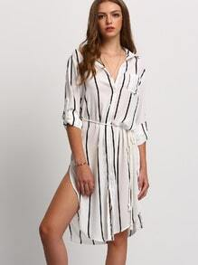 Black White Vertical Stripe Pocket Split Shirt Dress