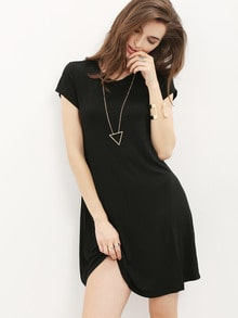 Black Short Sleeve Shirt Cut Swing Dress