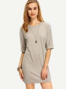 Grey Round Neck Inch Half Sleeve Loose Dress