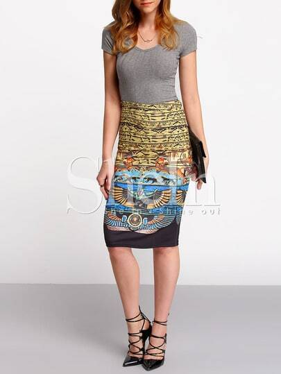 Multicolor High Waist Vintage Print Sheath Skirt