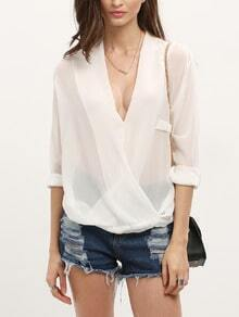 White V Neck Dip Hem Loose Blouse