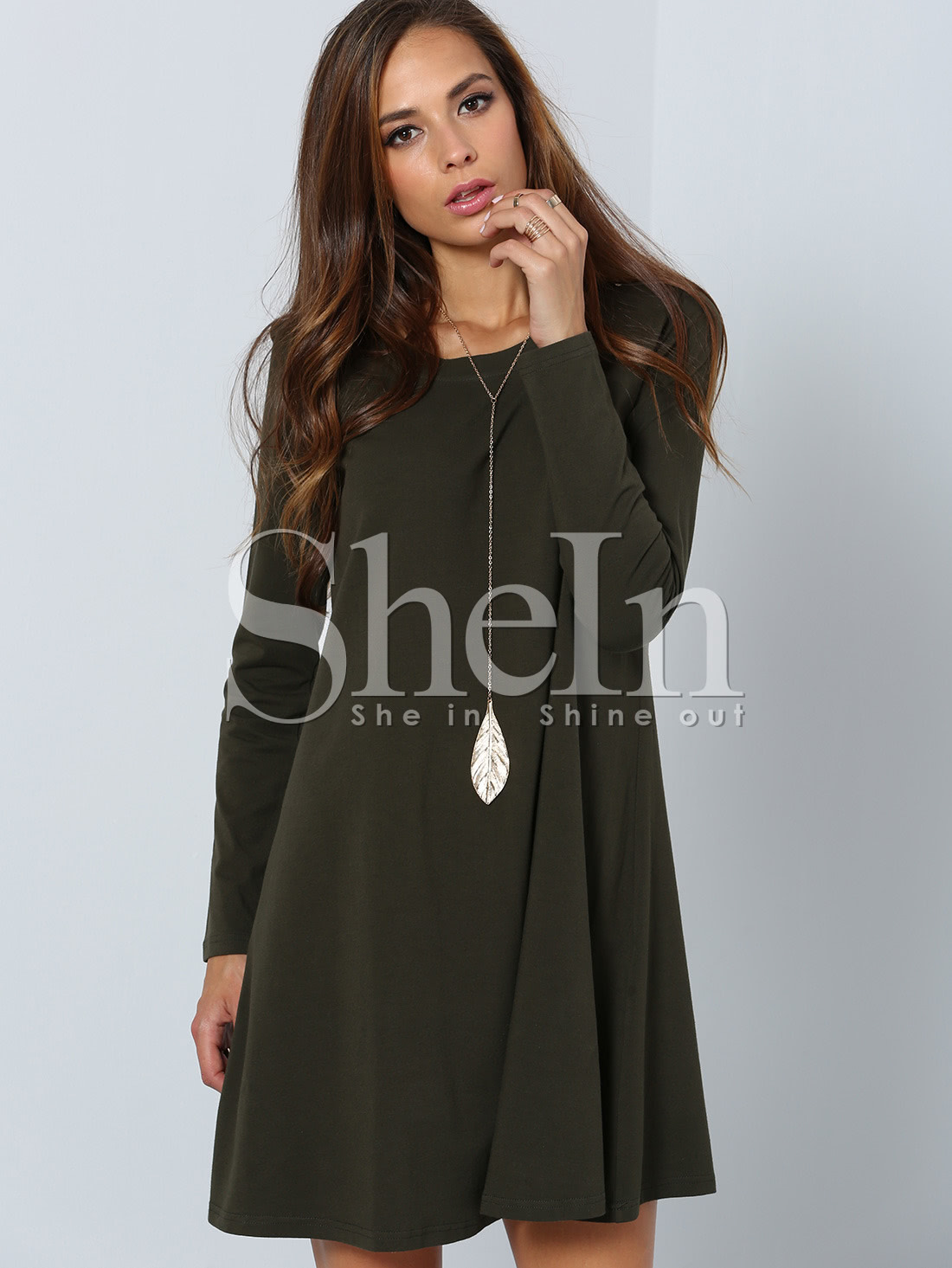 Dark Green Long Sleeve Designer Casual Dress -SheIn(Sheinside)