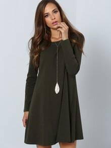 Long Sleeve Casual Dress -SheIn(Sheinside)