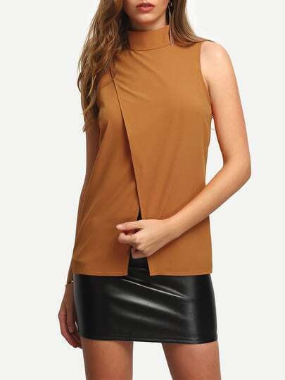 Camel Mock Neck Zipper Back Cross Split Blouse