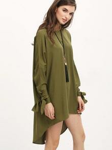 Green Long Sleeve knotted Dress