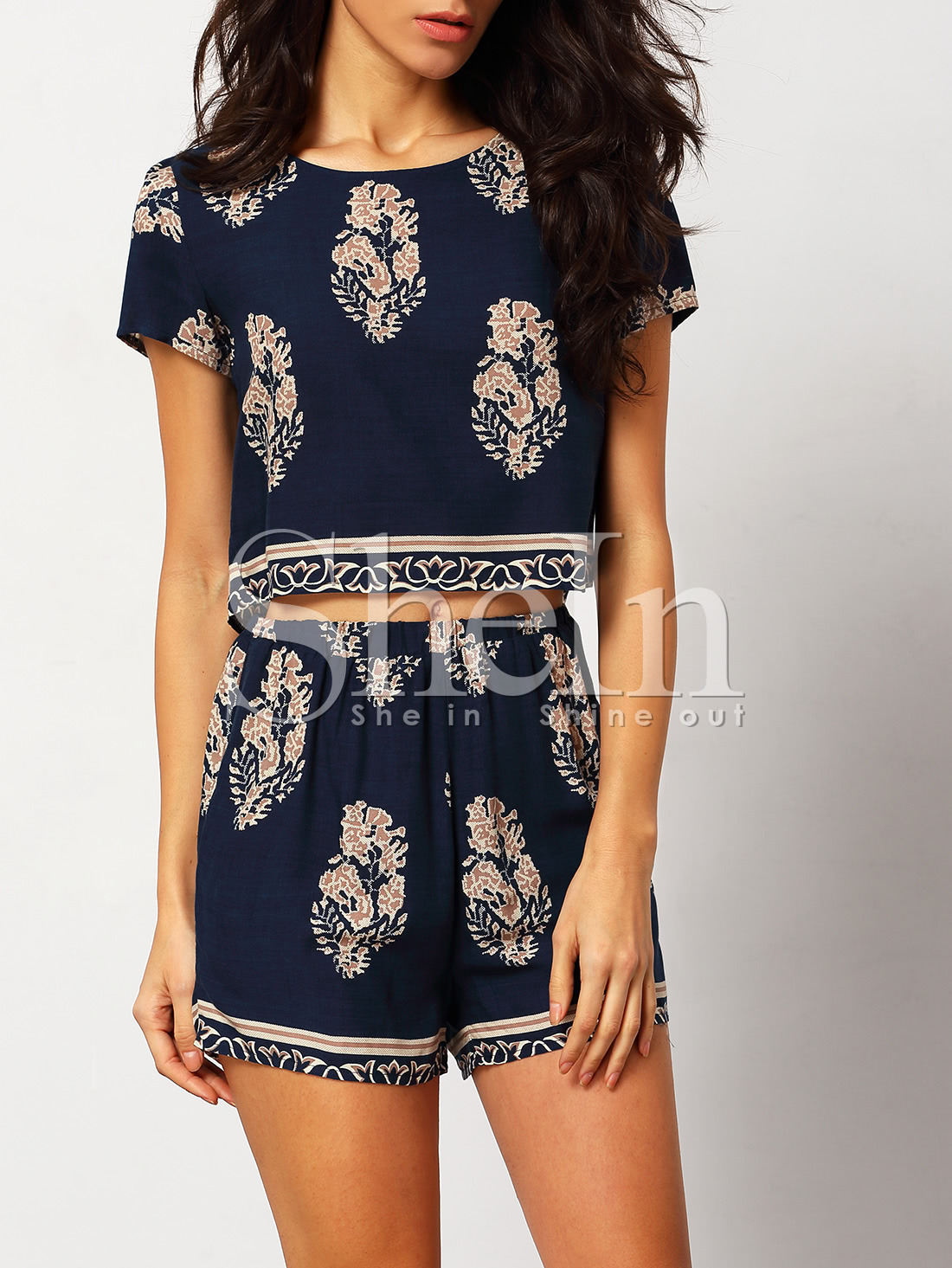 0f591492c0ffd0 Blue White Short Sleeve Floral Crop Top With Shorts Suits - Latest ...