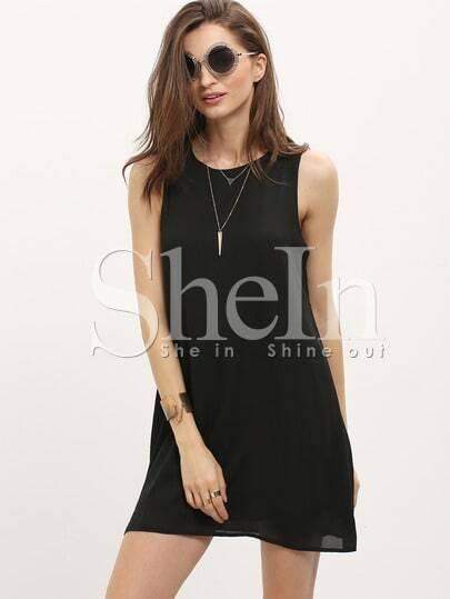 Black Crew Neck Sleeveless Shift Dress