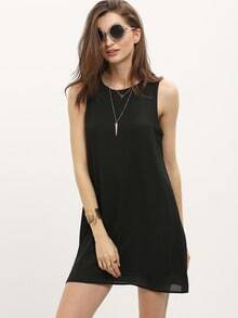 Black Crew Neck Sleeveless Shift Dress