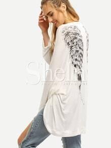 Beige Long Sleeve Wings Print Outerwear