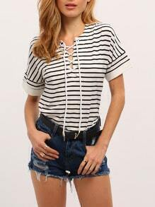 White Striped Lace Up Neck T-Shirt