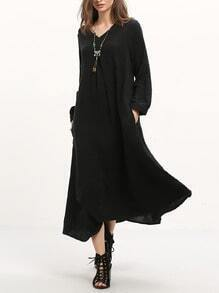 Black Long Sleeve Asymmetric Dress