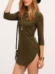 Army Green Round Neck Dress