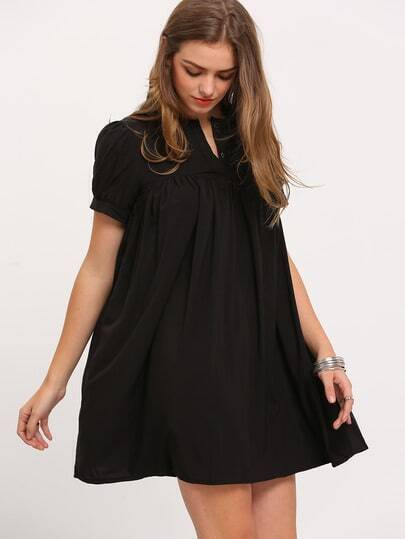 Black Short Sleeve Buttons Loose Dress