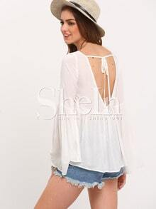 White Bell Sleeve V Back Babydoll Blouse