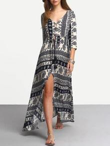 Blue V Neck Tribal Print Split Dress