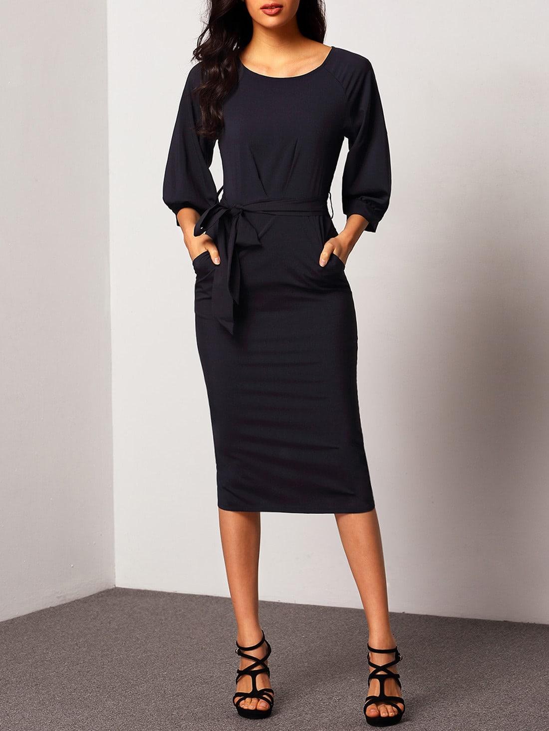 Puff Sleeve Belt Chiffon Slim Dress RDRE150928313