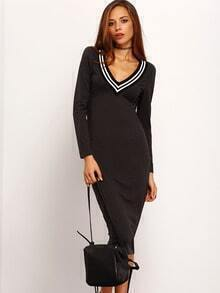 Grey Long Sleeve Slim Wiggle Dress