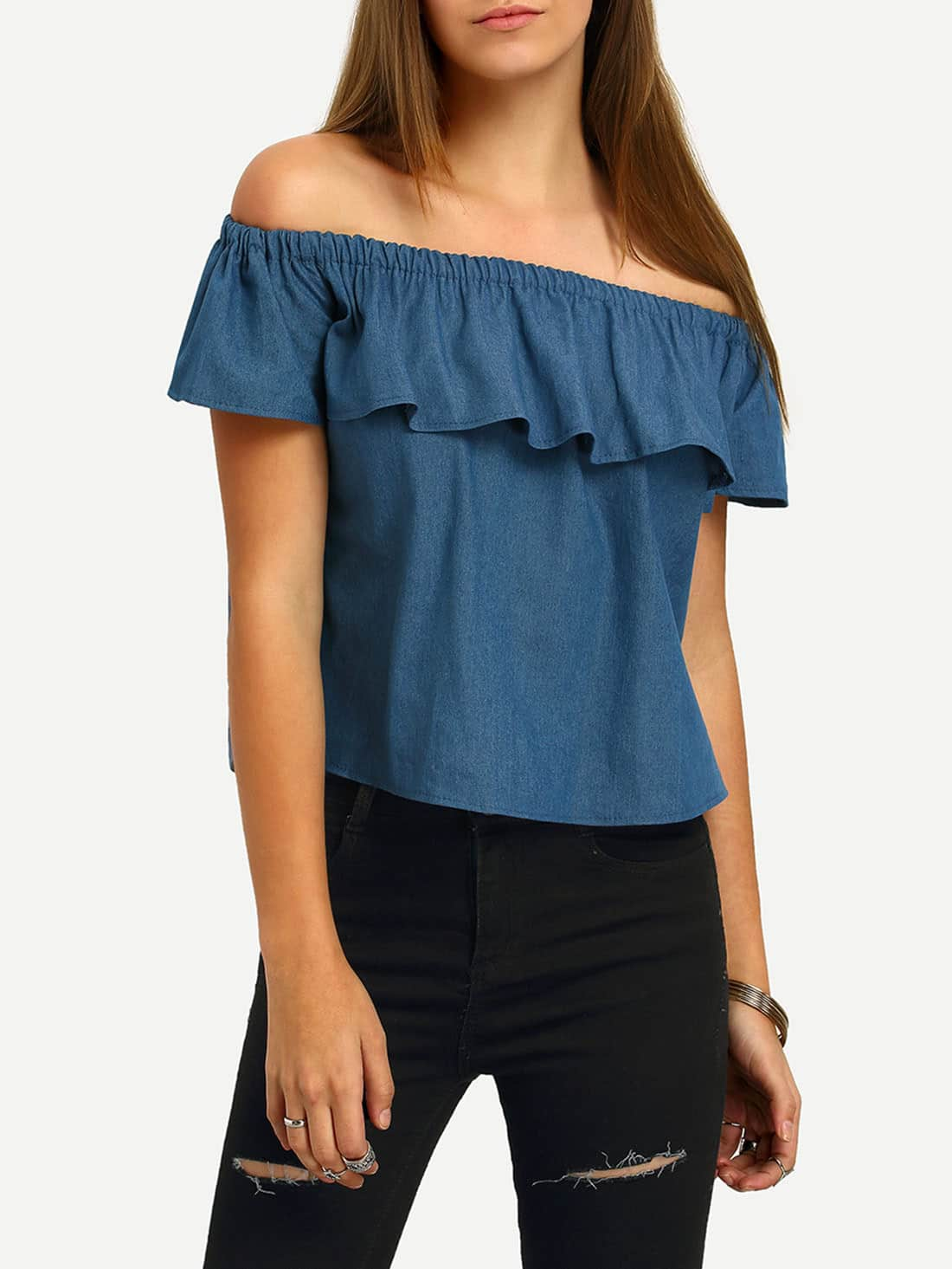 Image of Boat Neck Flounce Denim Crop Top
