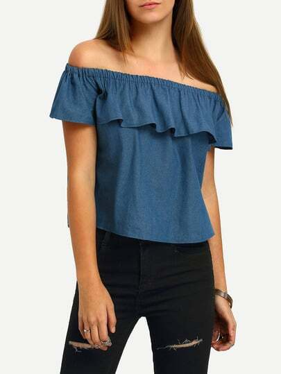 Boat Neck Flounce Denim Crop Top