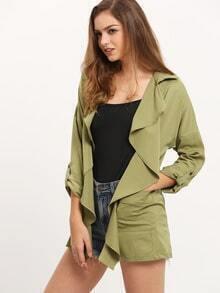 Army Green Long Sleeve Lapel Coat