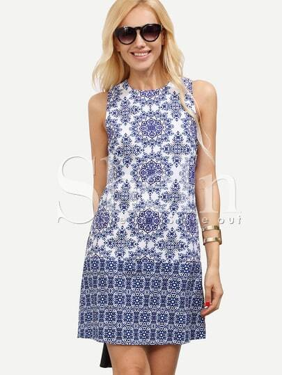 Blue White Textured Sleeveless Vintage Beauty Print Dress
