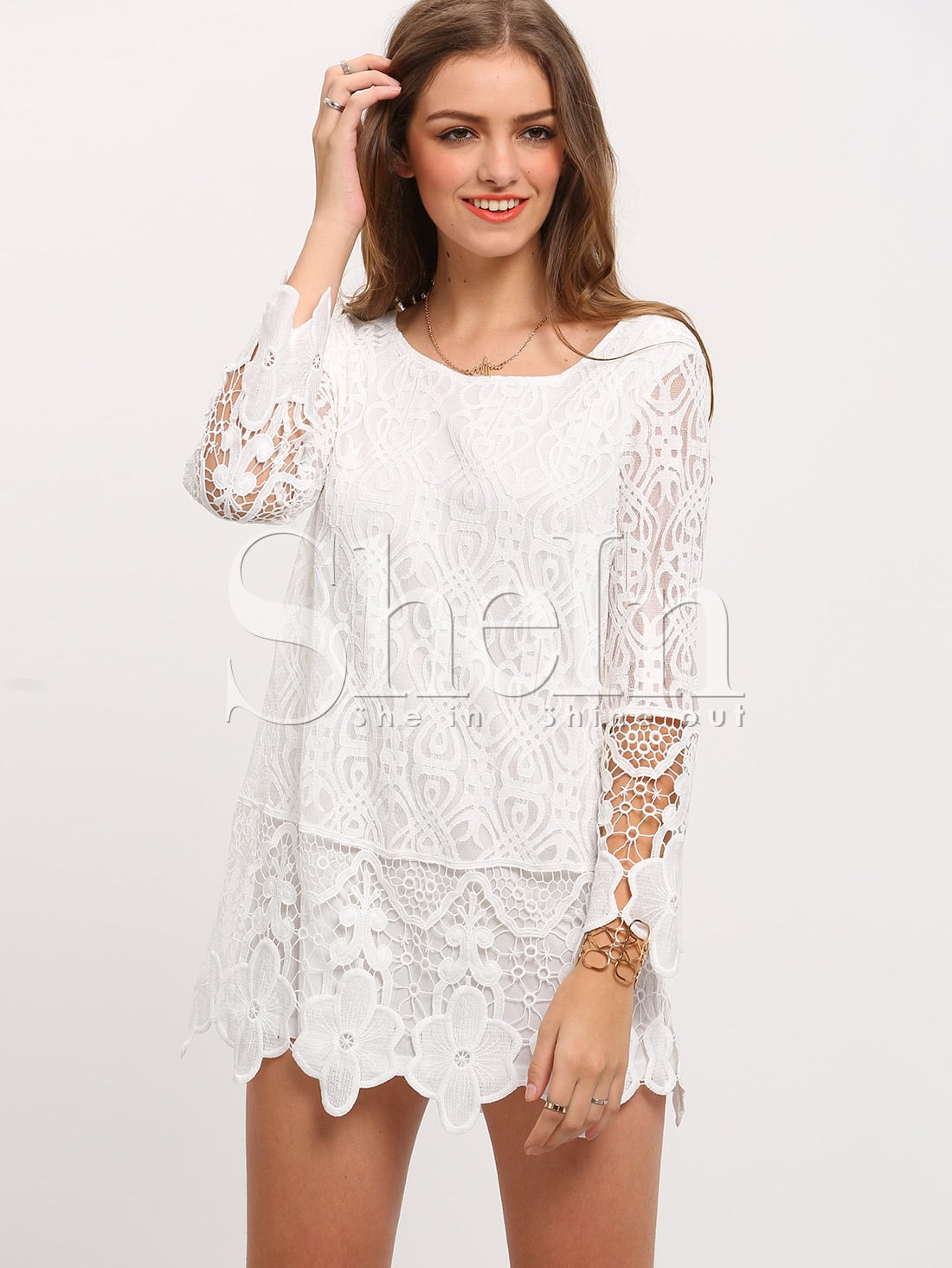 Crochet Lace Dress : White Long Sleeve Crochet Lace Dress -SheIn(Sheinside)