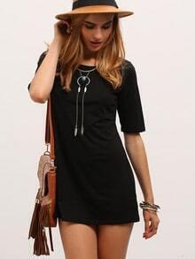 Black Half Sleeve Elbow Sleeve Straight Dress