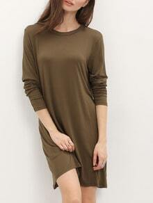 Army Green Long Sleeve Backless Dress