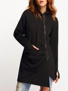 Black Hooded Zipper Pockets Loose Coat