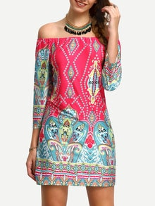 Multicolor Off The Shoulder Tribal Print Dress