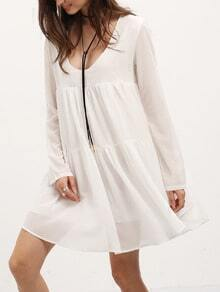 White V Neck Long Sleeve Pleated Dress