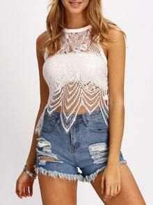 White Crochet Lace Tank Top