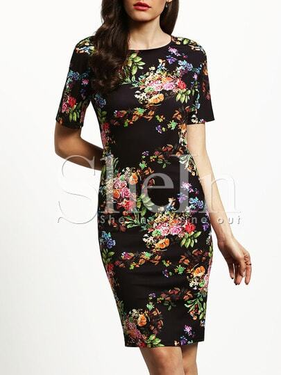 Florals Fitted Pencil Dress