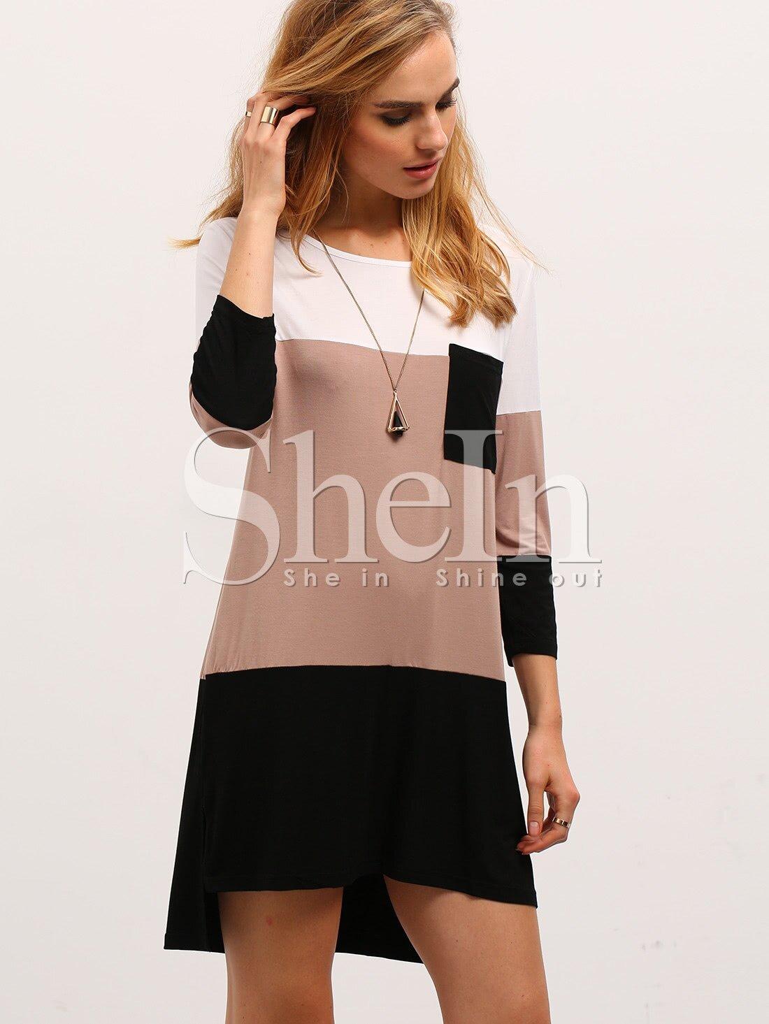Фото Color Block Dress With Pocket. Купить с доставкой