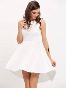White Sleeveless Asymmetric Hem Flare Dress