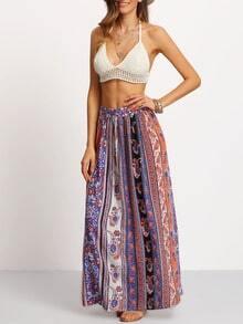 Multicolor Tribal Side Slit Maxi Skirt