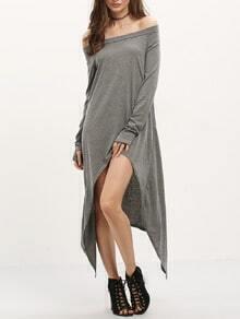 Grey Asymmetrical Casual Dress