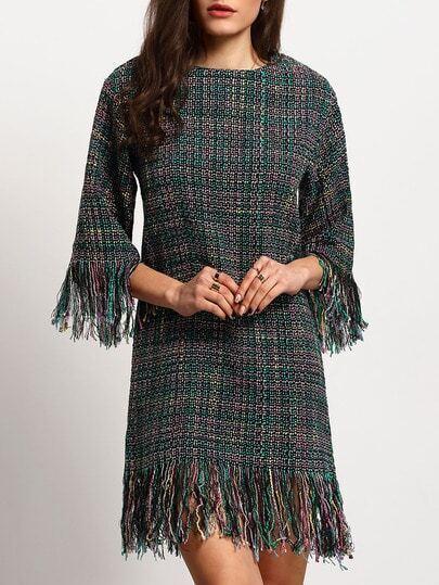 Стильное платье-туника с бахромой