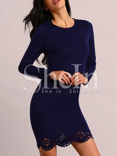 Navy Long Sleeve Adorable Scallop Hollow Dress