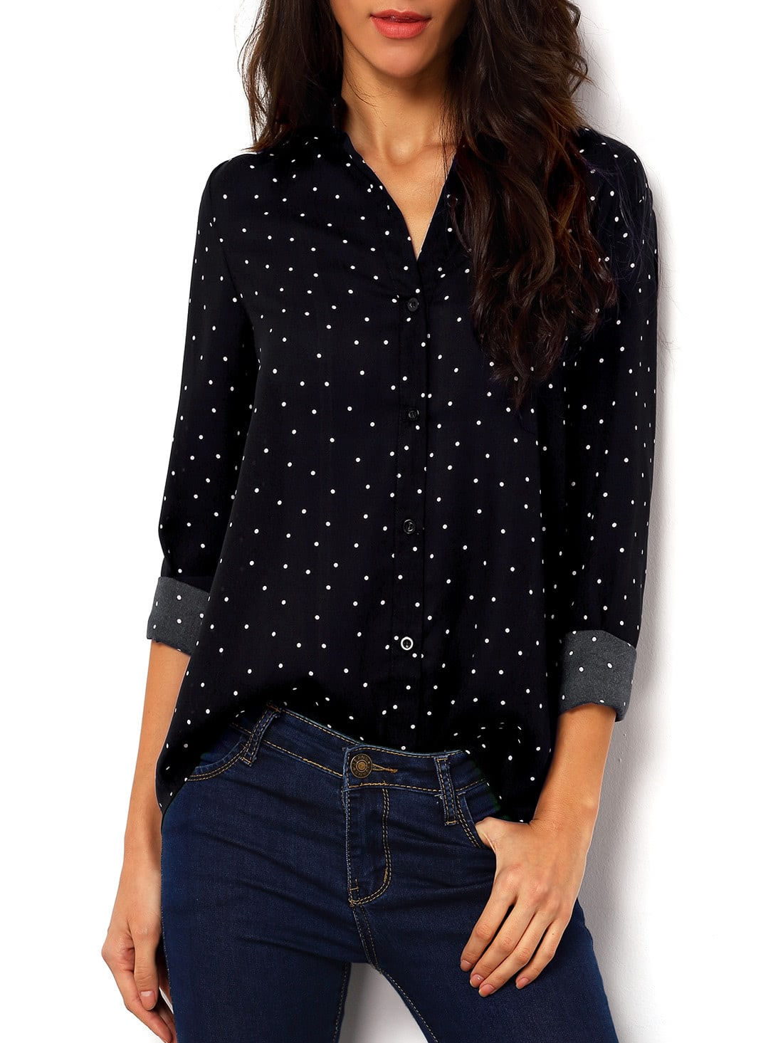 Polka Dot Spotted With Buttons Blouse thumbnail
