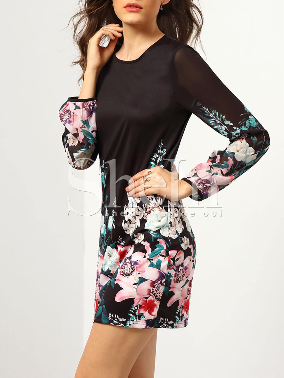 Black Long Sleeve Floral DressBlack Long Sleeve Floral Dress<br><br>color: Black<br>size: L,M,S,XL,XXL