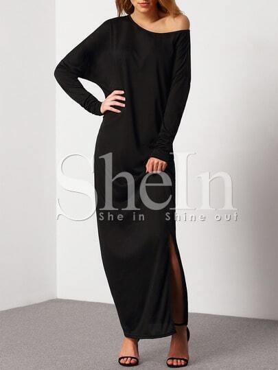 Black Oblique Shoulder Boatneck Bat Sleeve Slit Dress