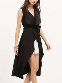 Black Sleeveless Asymmetric Trench Coat