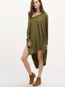 Army Puffball Long Sleeve High Low Dress