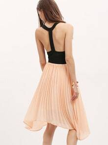 Pink Black Sleeveless Cut Out Asymmetric Dress Skirts