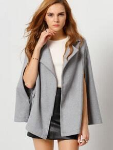 Grey Notch Lapel Cape Coat