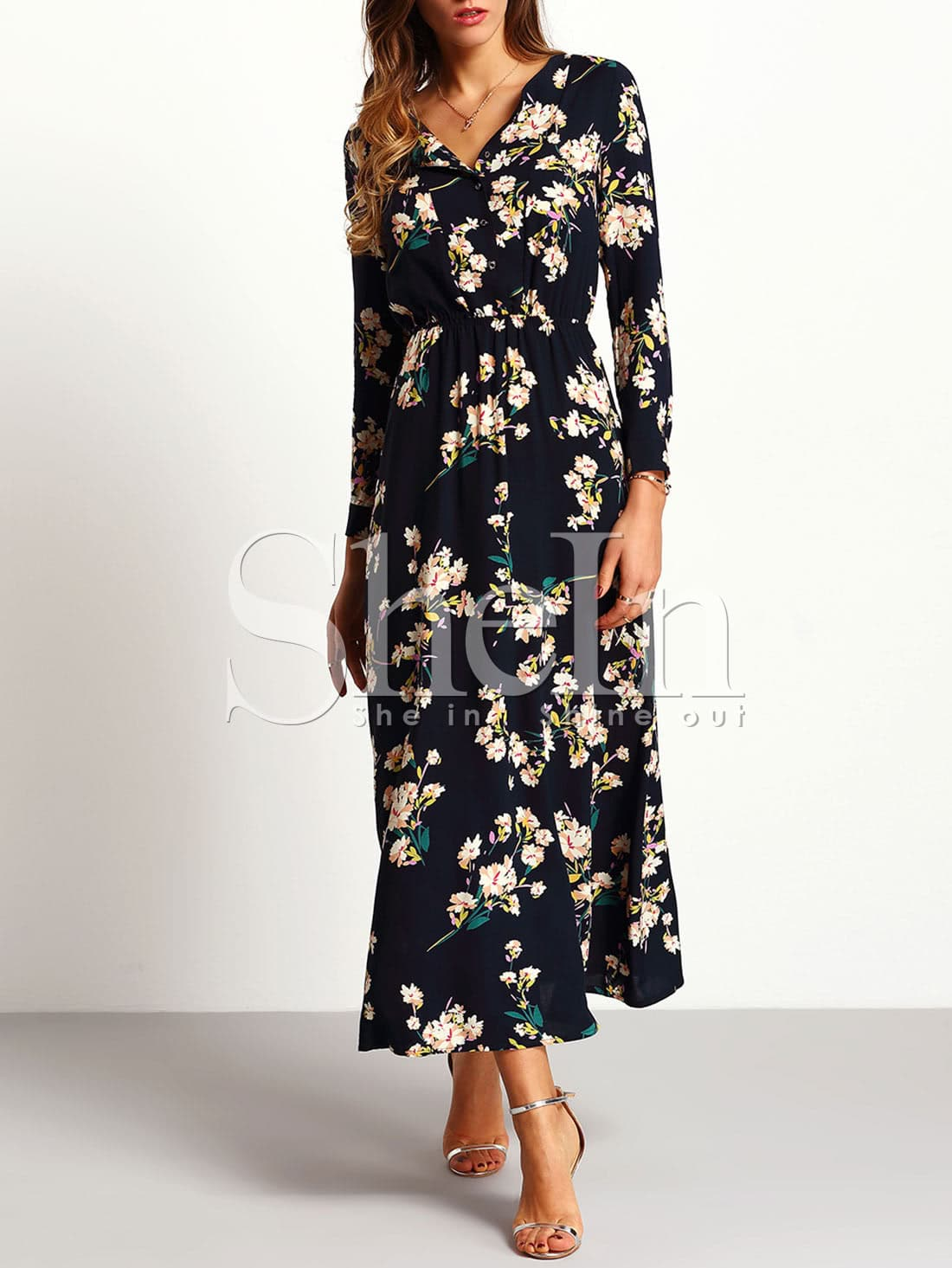 Navy Long Sleeve Floral Maxi DressNavy Long Sleeve Floral Maxi Dress<br><br>color: Navy<br>size: L,M,S,XL