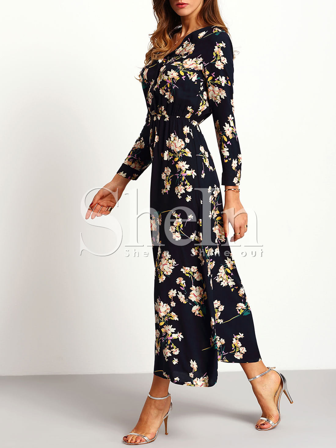 Long Sleeve Floral Maxi Dress Shein Sheinside